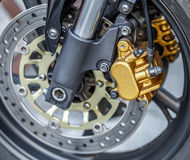 Motorcycle wheel brake background in motorbike, motorcycle wheel Stock Photography