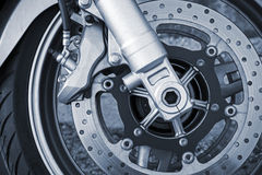 Motorcycle wheel with brake Royalty Free Stock Photo