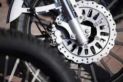 Motorcycle wheel breaks Royalty Free Stock Photo