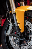 Motorcycle wheel. Close up photo royalty free stock images