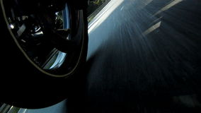 Motorcycle Wheel. Close-up racing on the highway stock video footage