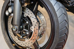 Motorcycle wheel closeup Stock Images