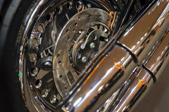 Motorcycle wheel closeup Stock Photography
