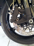 Motorcycle wheel detail Royalty Free Stock Photography