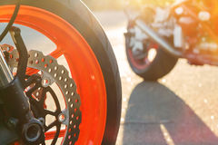 Motorcycle wheel with disc brake Stock Photos