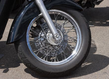 Motorcycle Wheel. Front wheel and tyre of a motorcycle Stock Photo