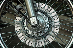 Motorcycle wheel II. Detail of motorcycle wheel royalty free stock image