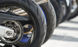 Motorcycle wheel. In a row Royalty Free Stock Photo