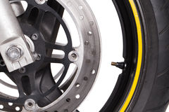 Motorcycle wheel. On a white background Stock Photos
