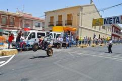 Motorcycle Wheelie On Super Moto Stock Photos