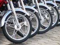 Motorcycle wheels. Row of new motorcycle wheels Stock Photography