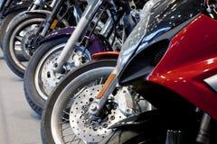Motorcycle wheels. Motorcycle wheel details with brake and wheel spoke royalty free stock photo