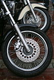 Motorcycle wheels. Start of moto season. Wheels of motorcycles Royalty Free Stock Image