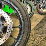 Motorcycle wheels Stock Photography