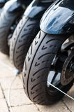 Motorcycle wheels. Locked together Royalty Free Stock Images