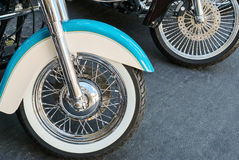 Motorcycle wheels. Old and new motorcycle wheels stock photography
