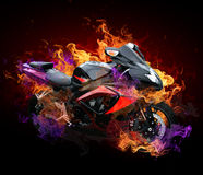 Motorcycle in wild flames Royalty Free Stock Photography