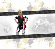Motorcycle Woman Layout. Young woman wearing a motorcycle racing suit in a layout with copyspace Royalty Free Stock Image