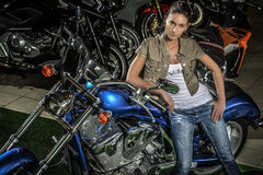 Motorcycle woman royalty free stock image