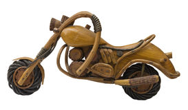 Motorcycle wood model. Wooden model of motorcycle, made of wood by skillfull homemade handyman Royalty Free Stock Photography