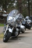 Motorcycle Yamaha XV 1700 Road Star Silverado at the beginning of the column of parked bikes. Front view stock photography