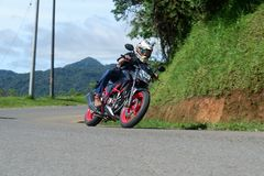 Motorcycle. Ride with my motorcycle Honda CB150R in Garut-Cikajang road. This is naked bike and comfort to ride Royalty Free Stock Images