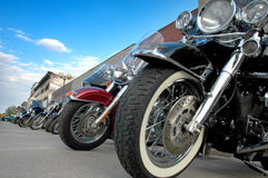 Motorcycles. A row of motorcycles parked during an event for bikers in Indianola, Iowa royalty free stock images