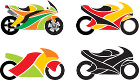 Motorcycles. 4 motorcycles isolated on a white background + vector stock illustration
