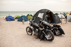 Motorcycles on the beach Stock Photos