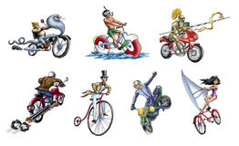 Motorcycles and bicycles Royalty Free Stock Images