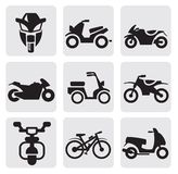 Motorcycles and bicycles set Royalty Free Stock Photos