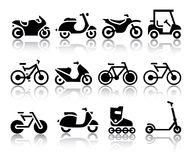 Motorcycles and bicycles set of black icons Stock Photography