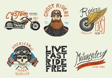 Motorcycles and biker club templates. Vintage custom skulls emblems, labels badges for t shirt. Monochrome retro style royalty free illustration