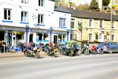 Motorcycles and bikers at Matlock Bath. Stock Photography