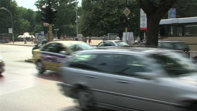 Motorcycles and cars on the street in the center of Varna, Bulgaria stock video footage