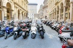 Motorcycles in the city of Genoa,Italy Royalty Free Stock Photos