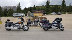 Motorcycles on the Continental Divide. Hoosier Pass, Colorado Stock Images