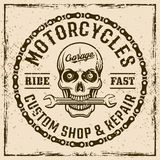 Motorcycles custom shop vintage emblem with skull. Motorcycles custom shop vintage emblem, label, stamp or print on background with grunge textures and frame Stock Photos
