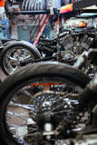 Motorcycles in  Customs Shop Royalty Free Stock Photos