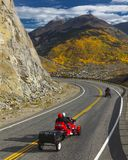 Motorcycles drive autumn road goes from Ouray to Silverton Color royalty free stock image