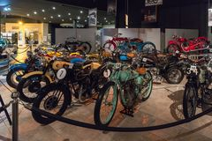 Motorcycles at the exhibition in the King Abdullah II car museum in Amman, the capital of Jordan. Amman, Jordan, December 07, 2018 : Motorcycles at the stock image