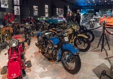 Motorcycles at the exhibition in the King Abdullah II car museum in Amman, the capital of Jordan. Amman, Jordan, December 07, 2018 : Motorcycles at the royalty free stock images