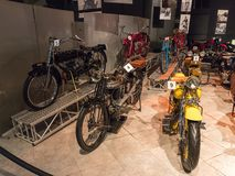 Motorcycles at the exhibition in the King Abdullah II car museum in Amman, the capital of Jordan. Amman, Jordan, December 07, 2018 : Motorcycles at the stock photos