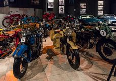 Motorcycles at the exhibition in the King Abdullah II car museum in Amman, the capital of Jordan. Amman, Jordan, December 07, 2018 : Motorcycles at the stock photo