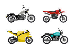 Motorcycles in flat style. Royalty Free Stock Photo
