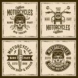 Motorcycles four colored vintage grunged emblems. Motorcycles four colored emblems, badges, stamps or shirt prints on background with grunge textures and frame Royalty Free Stock Photo