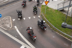 Motorcycles going down town Stock Images