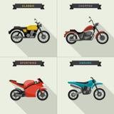 Motorcycles illustrations set. Royalty Free Stock Image