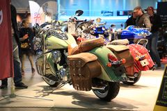 Motorcycles Indian stand at the exhibition in bright light Royalty Free Stock Image