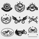 Motorcycles labels and icons set. Vector. Transport, race, wheel, drive stock illustration